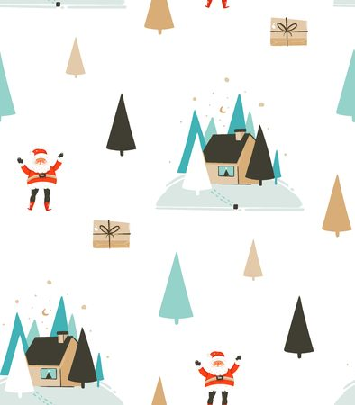 Hand drawn vector abstract fun Merry Christmas time cartoon seamless pattern with cute illustrations,Santa Claus and Eve outdoor with pine forest and house isolated on white background