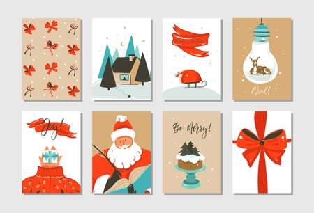 Hand drawn vector abstract fun Merry Christmas time cartoon cards collection set with cute illustrations of Santa Claus and Xmas cake isolated on white background. Stock Photo