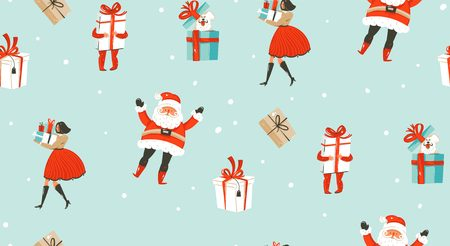 Hand drawn vector abstract fun Merry Christmas time cartoon illustrations seamless pattern with people,kids,dog,Santa Claus and surprise gift boxes isolated on snow blue background.