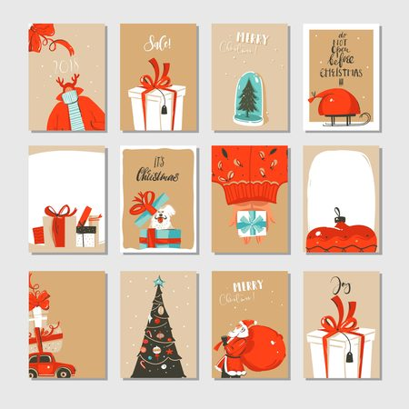 Hand drawn abstract of Christmas time cartoon cards. Illustration