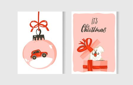 Hand drawn vector abstract fun Merry Christmas time cartoon cards collection set with cute illustrations,surprise gift boxes,dogs and handwritten modern calligraphy text isolated on white background. Illustration