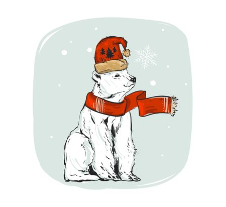 Hand drawn vector abstract fun cartoon Merry Christmas time ink shabby drawing illustration design element with polar bear in Santa Claus hat and scarf isolated on white background.
