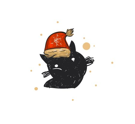 Hand drawn vector abstract fun Merry Christmas time cartoon doodle rustic festive illustration icon with cute holiday black cat in Santa Claus hat isolated on white background.