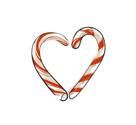 Hand drawn vector abstract fun Merry Christmas time cartoon doodle rustic festive illustration icon with cute holiday candy canes heart shape isolated on white background. Illustration