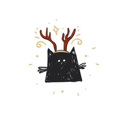 Hand drawn vector abstract fun Merry Christmas time cartoon doodle rustic festive illustration with cute holiday black cat and isolated on white background.