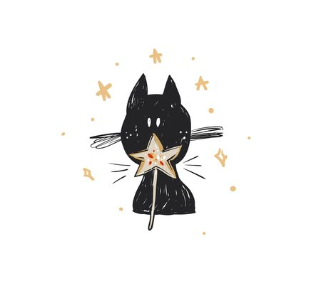 Hand drawn vector abstract fun Merry Christmas time cartoon doodle rustic festive illustration icon with cute holiday black cat and star isolated on white background