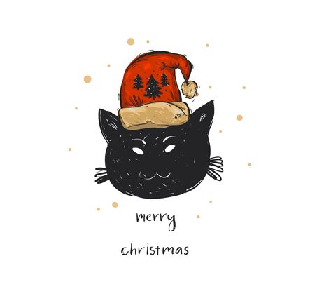 Hand drawn vector abstract Merry Christmas time cartoon doodle festive illustration card template with holiday black cat in Santa Claus hat and handwritten calligraphy isolated on white background. Illustration