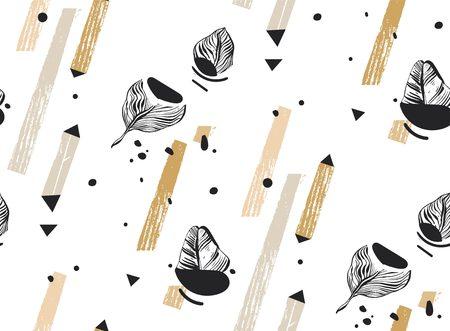 손으로 그린 된 벡터 추상 자유형 질감 기하학적 모양, 유기 텍스처, 삼각형 및 흰색 배경에 고립 된 카키색 색상에서 팜 나뭇잎 원활한 열 대 패턴 콜