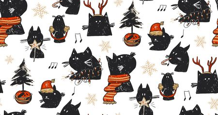Hand drawn vector abstract fun Merry Christmas time cartoon rustic festive seamless pattern with cute illustrations of holiday black cats and xmas tree isolated on white background