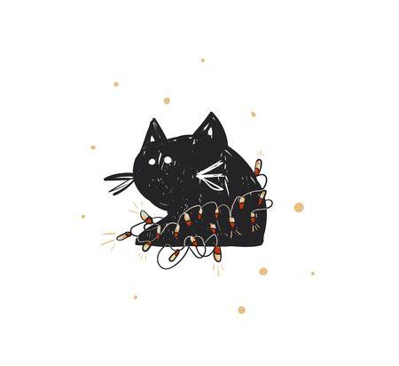 Hand getrokken vector abstracte leuke Merry Christmas tijd cartoon doodle rustieke feestelijke illustratie pictogram met schattige vakantie zwarte kat met lichtenslinger geïsoleerd op een witte achtergrond