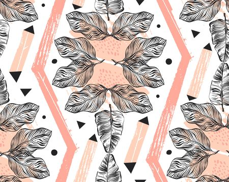 Hand drawn vector abstract freehand textured seamless tropical pattern collage with geometric shape,organic textures,triangles and palm leaves in pink pastel colors isolated on white background Stock Photo