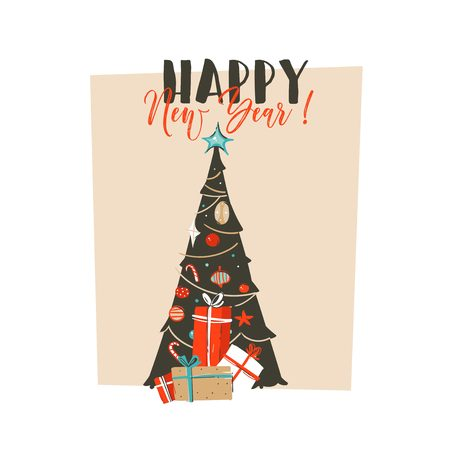 Hand drawn vector abstract fun Merry Christmas time cartoon illustration greeting card with surprise gift boxes,Christmas tree and modern typography Happy New Year isolated on white background.