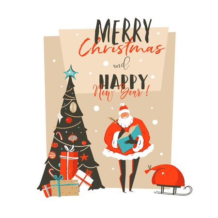 Hand drawn vector abstract Merry Christmas and Happy New Year time cartoon illustration greeting card with Santa Claus surprise gift boxes,Christmas tree and typography isolated on white background.
