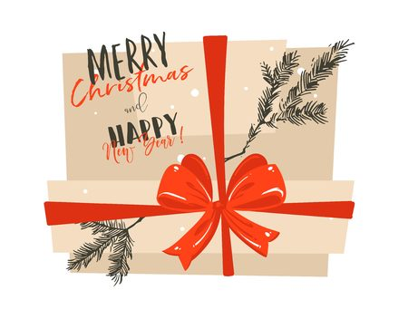 Hand drawn vector abstract Merry Christmas and Happy New Year time cartoon illustration greeting card with big surprise gift box,red bow and modern typography isolated on white background. Illustration