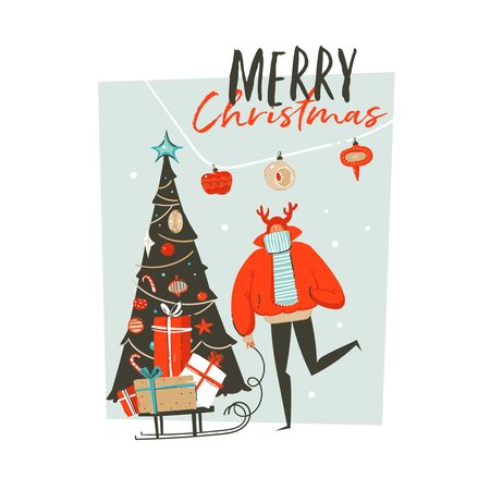 Hand drawn vector abstract fun Merry Christmas time cartoon illustration greeting card with man,surprise gift boxes,Christmas tree and xmas calligraphy isolated on blue background