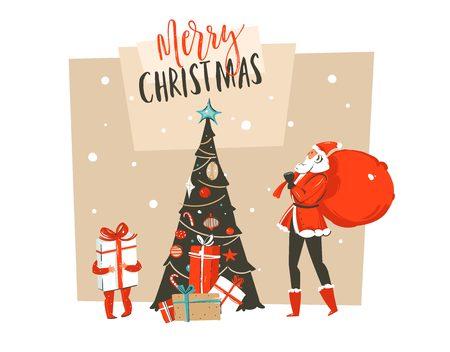 Hand gezeichnete Vektorzusammenfassungsspaß frohe Weihnacht-Zeit. Karikaturillustrations-Grußkarte mit Santa Claus-Vati und -sohn, Überraschungsgeschenkboxen, Weihnachtsbaum und Typografie.