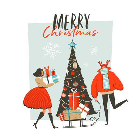 Hand drawn vector abstract fun Merry Christmas time. Cartoon illustration greeting card with group of people, surprise gift boxes, Christmas tree and Xmas calligraphy.