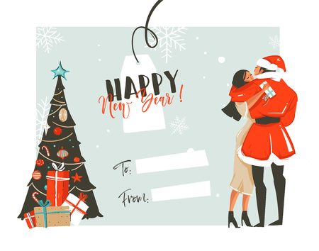 Hand drawn vector abstract fun Happy New Year time cartoon retro vintage illustrations card with romantic couple who kissing and hugging,xmas tree and place for your text isolated on white background