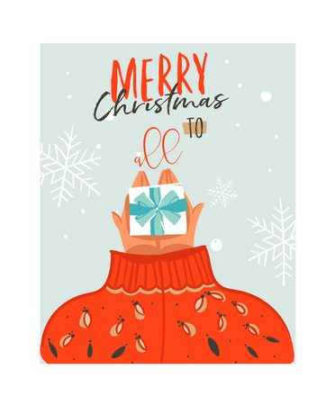 Hand drawn vector abstract Merry Christmas time cartoon illustration card with people in cozy sweater who gives surpsise gift box and modern typography Merry Xmas to all isolated on white background