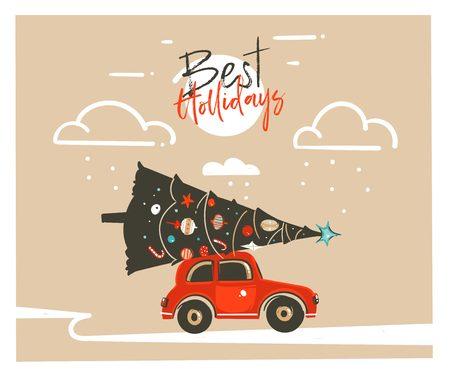 Bergeben Sie gezogene Illustrationsschlagzeilenkartendesignschablone der Karikatur der frohen Weihnachten Zeit grafische mit rotem Auto, Weihnachtsbaum und modernen Typografie besten den Feiertagen, die auf Kraftpapierhintergrund lokalisiert werden Standard-Bild - 91503597
