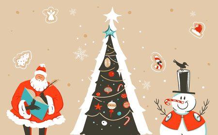 手描きベクトル抽象的な楽しいメリークリスマスタイム漫画のイラストグリーティングカードサンタクロース、クリスマスツリー、雪だるまとクラ