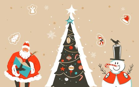 Hand drawn vector abstract fun Merry Christmas time cartoon illustration greeting card with Santa Claus,xmas tree,snowman and place for your text isolated on craft background Vectores