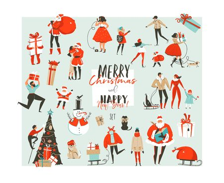Hand drawn vector abstract Merry Christmas and Happy New Year time big cartoon illustrations collection set design elements with Santa Claus,people,xmas tree and dog isolated on white background