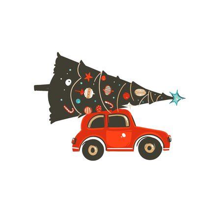Hand gezeichnetes Vektorillustrations-Gestaltungselement der Karikaturkarikaturikone der frohen Weihnachten mit rotem Auto und Weihnachtsbaum lokalisiert auf weißem Hintergrund