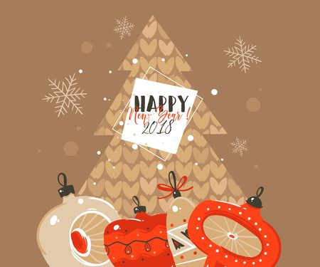 Hand drawn vector abstract Merry Christmas and Happy New Year time cartoon illustrations greeting header template with xmas tree bauble toys and typography text isolated on brown background Çizim