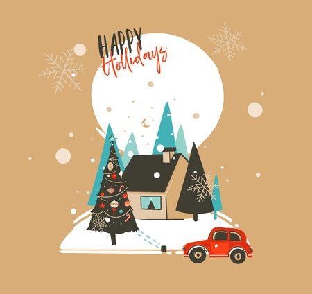 手描きベクトル抽象メリークリスマスとハッピーニューイヤーの漫画イラストは、茶色の背景に隔離された屋外風景、家や降雪とカードテンプレー