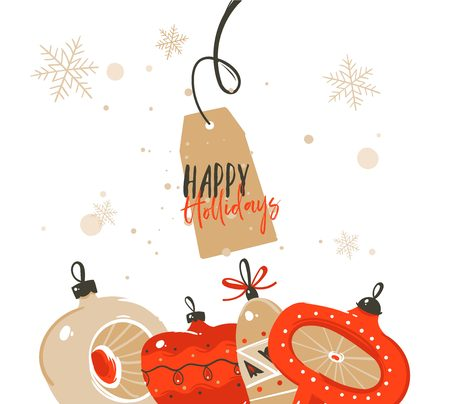 Hand drawn vector abstract Merry Christmas and Happy New Year time cartoon illustrations greeting header template with xmas tree bauble toys and typography text isolated on white background Illustration