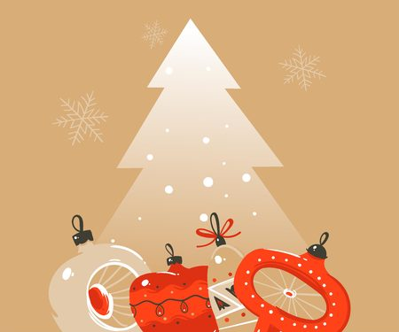 Hand drawn vector abstract Merry Christmas and Happy New Year time cartoon illustrations greeting header template with xmas tree bauble toys and place for your text isolated on ocher background