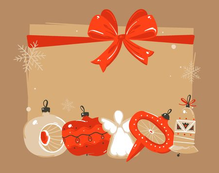 Hand drawn vector abstract Merry Christmas and Happy New Year time cartoon illustrations greeting header template with xmas tree bauble toys and place for your text isolated on brown background