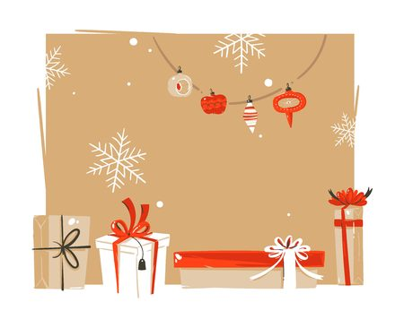 Hand drawn vector abstract Merry Christmas and Happy New Year time vintage cartoon illustrations greeting header template with surprise gift boxes and place for your text isolated on white background