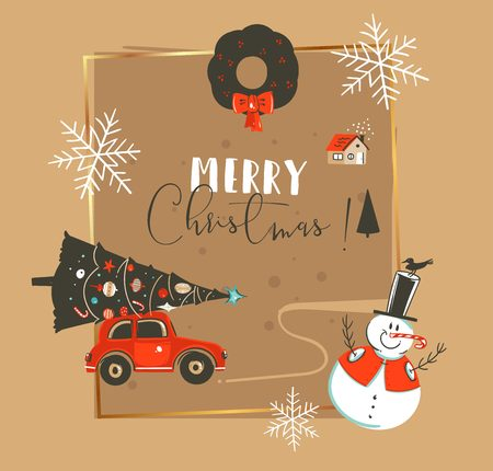 Hand drawn vector abstract Merry Christmas and Happy New Year time vintage cartoon illustrations greeting card template with car,xmas tree,snowman and typography text isolated on brown background