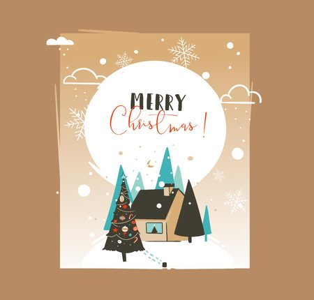 Hand drawn vector abstract Merry Christmas and Happy New Year time cartoon illustrations greeting card template with outdoor landscape,house and snowfall isolated on white background Illustration