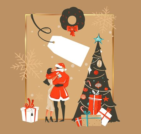 Hand drawn cartoon illustrations of romantic couple beside the christmas tree  isolated on brown background Illustration