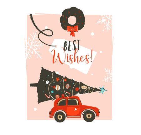 Hand drawn vector Merry Christmas time cartoon graphic illustration card design template with red car,xmas tree,mistletoe wreath and modern typography Best Wishes isolated on pink pastel background