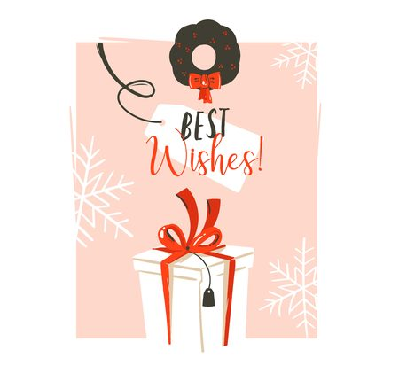 Hand drawn vector abstract fun Merry Christmas time cartoon retro vintage illustration greeting card with big white surprise gift box and Best Wishes typography isolated on pink pastel background