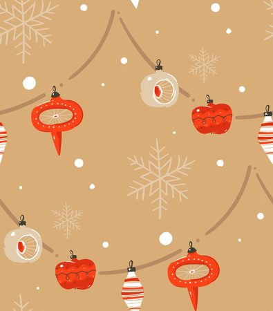 Hand drawn vector abstract Merry Christmas and Happy New Year time cartoon illustrations greeting seamless pattern with xmas tree retro vintage ball and baubles garland isolated on craft background