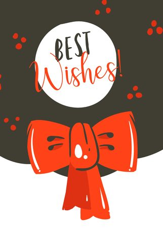Hand drawn cartoon illustrations greeting card template with red bow isolated on white background.