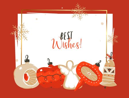 Hand drawn vector abstract Merry Christmas and Happy New Year time cartoon illustrations greeting header template with xmas tree bauble toys and typography text isolated on white background Ilustracja