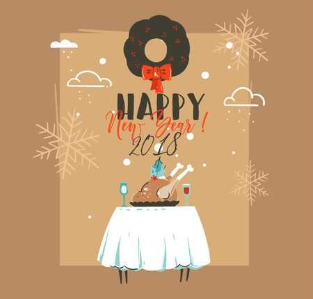 Hand drawn retro vintage cartoon illustrations greeting card design with christmas dinner table isolated on brown background.