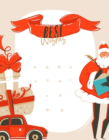Hand drawn vector abstract fun Merry Christmas time cartoon illustration greeting card tag with Santa Claus,car,surprise gift boxes and Best wishes typography isolated on white background Illustration