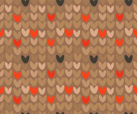 手描きベクトル抽象漫画メリークリスマスとハッピーニューイヤーホリデーブラウン観賞編みシームレスなパターンデザイン要素。  イラスト・ベクター素材
