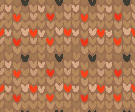 Hand drawn vector abstract cartoon Merry Christmas and Happy New Year holidays brown ornamental knitted seamless pattern design element.