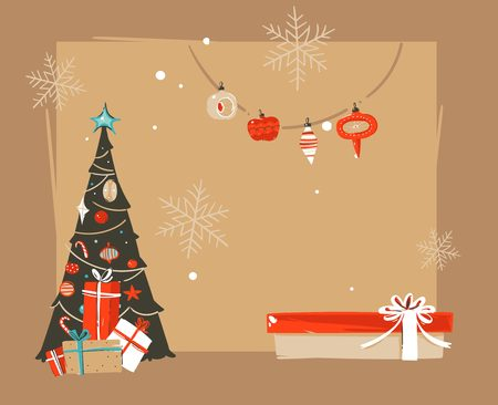 Hand drawn abstract Merry Christmas and Happy New Year time vintage cartoon illustrations greeting header template.