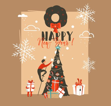 Hand drawn vector abstract Merry Christmas and Happy New Year time vintage cartoon illustrations greeting card template with family people decorated xmas tree isolated on brown background.