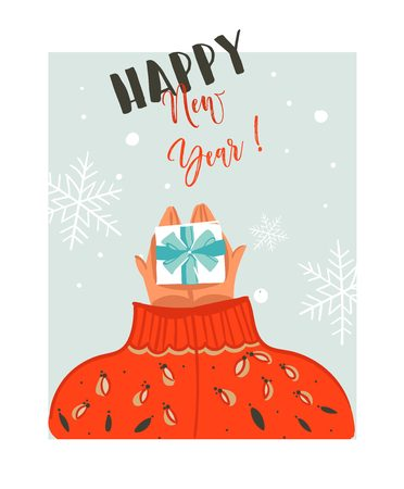 Hand drawn vector abstract Merry Christmas time cartoon illustration card with people in cozy sweater who gives surpsise gift box and modern typography Happy New year isolated on white background