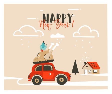 Hand drawn vector Merry Christmas time cartoon graphic illustration headline card design template with red car,xmas turkey and modern typography Happy New Year isolated on craft paper background